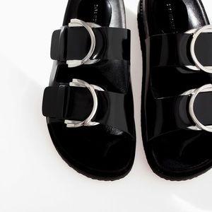 Zara Slide On Double Buckle Sandals